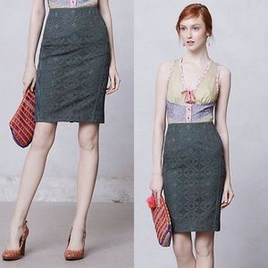 Byron Lars Moss Lace Pencil Skirt